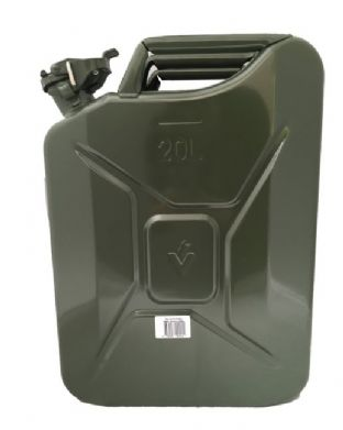 20 LITRE FUEL CAN HEAVY DUTY GREEN METAL JERRY PETROL FUELCAN